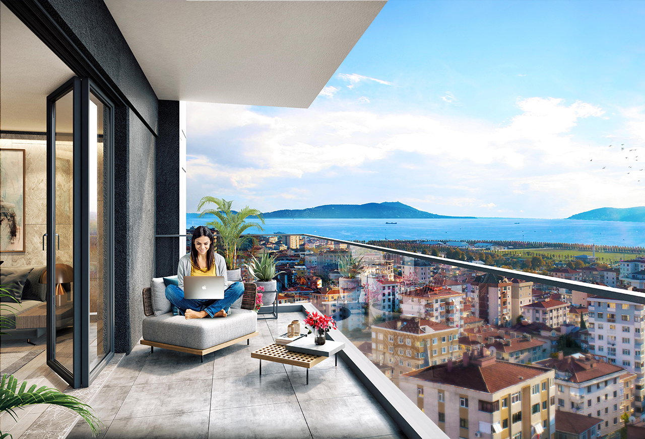 Enjoy panoramic view of Princes Islands from your smart apartment balcony in Istanbul's Maltepe